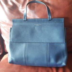 Tory Burch blue leather tote